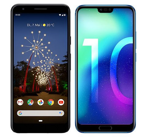 Pixel 3A vs Honor 10. Size comparison