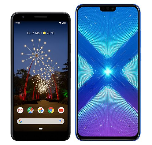 Smartphone Comparison: Google pixel 3a vs Honor 8x