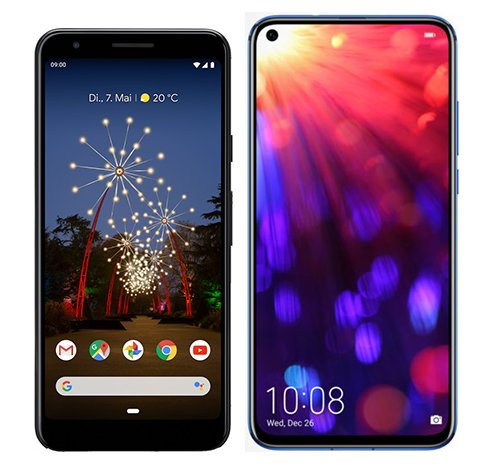 Smartphone Comparison: Google pixel 3a vs Honor view 20
