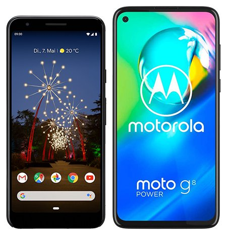Smartphone Comparison: Google pixel 3a vs Motorola moto g8 power