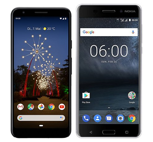 Smartphone Comparison: Google pixel 3a vs Nokia 6