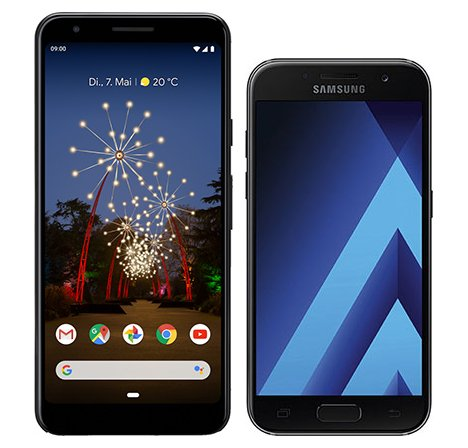 Smartphone Comparison: Google pixel 3a vs Samsung galaxy a3 2017