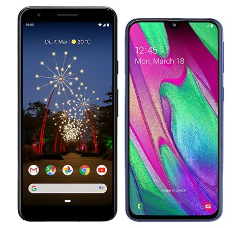 Smartphone Comparison: Google pixel 3a vs Samsung galaxy a40