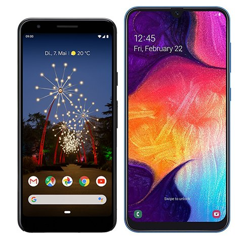Smartphone Comparison: Google pixel 3a vs Samsung galaxy a50