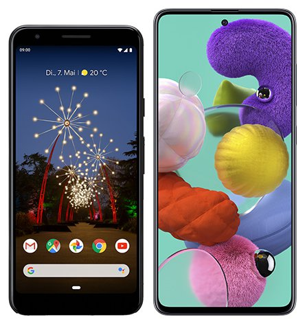 Smartphone Comparison: Google pixel 3a vs Samsung galaxy a51