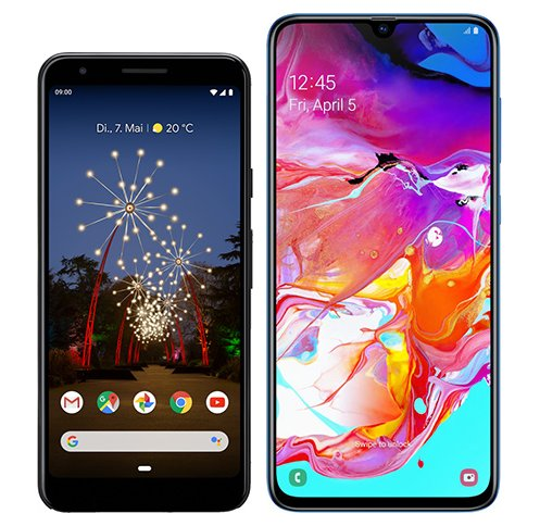 Smartphone Comparison: Google pixel 3a vs Samsung galaxy a70