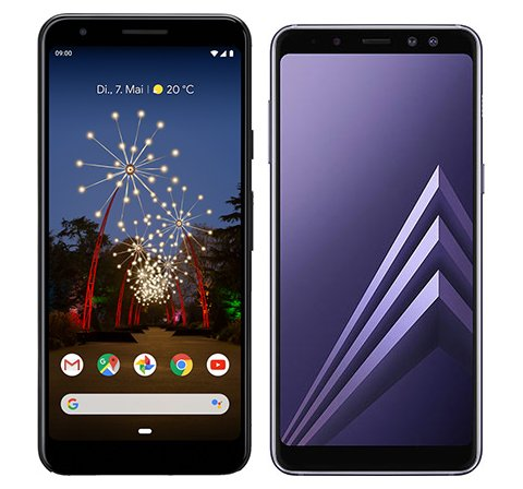 Smartphone Comparison: Google pixel 3a vs Samsung galaxy a8