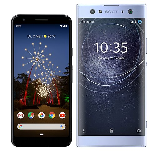 Pixel 3A vs Xperia XA2 Ultra. Size comparison