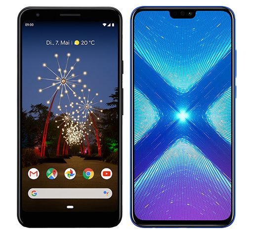 Smartphone Comparison: Google pixel 3a xl vs Honor 8x