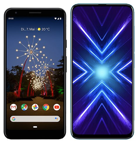 Smartphone Comparison: Google pixel 3a xl vs Honor 9x