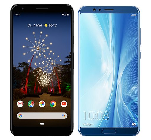 Pixel 3A XL vs Honor View 10. Size comparison