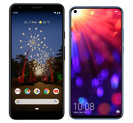 Smartphone Comparison: Google pixel 3a xl vs Honor view 20