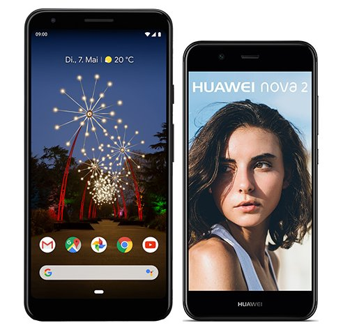 Smartphone Comparison: Google pixel 3a xl vs Huawei nova 2