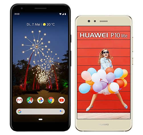 Smartphone Comparison: Google pixel 3a xl vs Huawei p10 lite