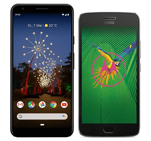 Smartphone Comparison: Google pixel 3a xl vs Motorola moto g5 plus