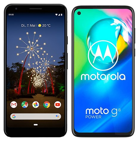 Smartphone Comparison: Google pixel 3a xl vs Motorola moto g8 power
