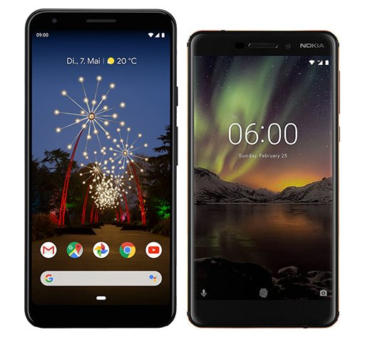 Smartphone Comparison: Google pixel 3a xl vs Nokia 6 1