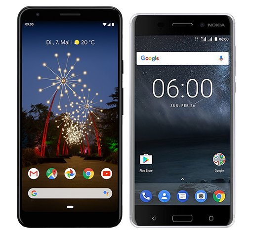 Smartphone Comparison: Google pixel 3a xl vs Nokia 6
