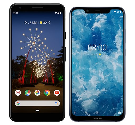 Smartphone Comparison: Google pixel 3a xl vs Nokia 8 1