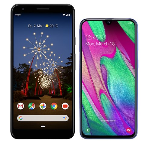 Smartphone Comparison: Google pixel 3a xl vs Samsung galaxy a40