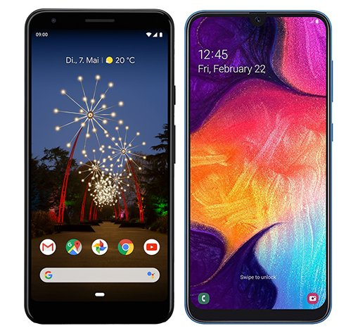 Smartphone Comparison: Google pixel 3a xl vs Samsung galaxy a50