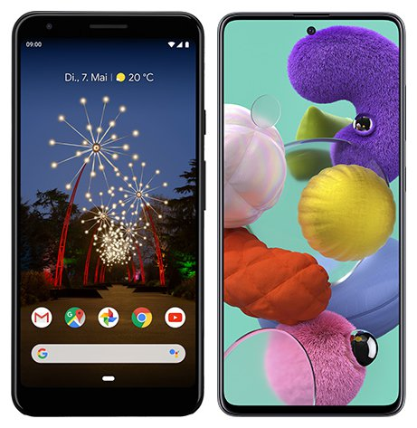 Smartphone Comparison: Google pixel 3a xl vs Samsung galaxy a51