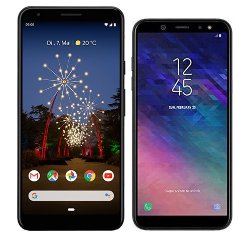 Smartphone Comparison: Google pixel 3a xl vs Samsung galaxy a6