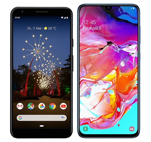 Smartphone Comparison: Google pixel 3a xl vs Samsung galaxy a70