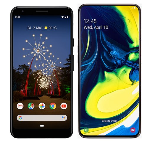 Smartphone Comparison: Google pixel 3a xl vs Samsung galaxy a80