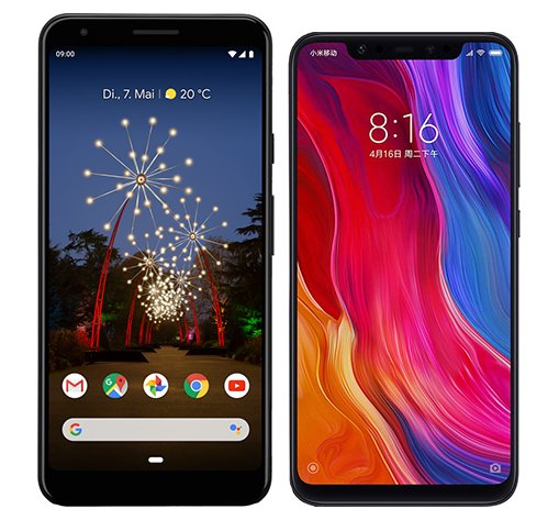 Smartphone Comparison: Google pixel 3a xl vs Xiaomi mi 8