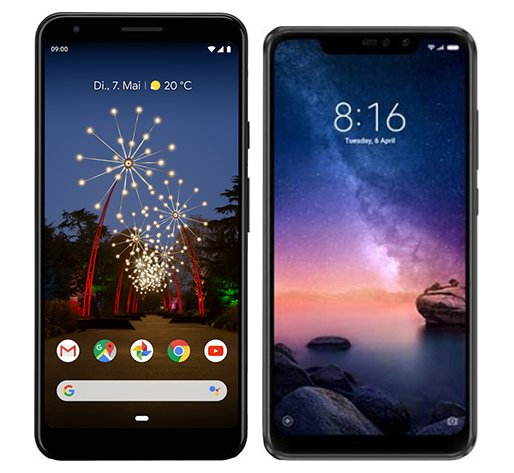 Smartphone Comparison: Google pixel 3a xl vs Xiaomi redmi note 6 pro