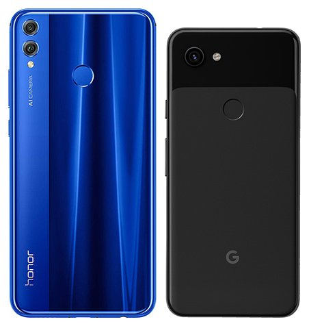 Honor 8X vs Pixel 3A. View of main cameras