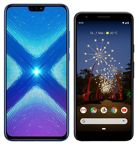 Smartphone Comparison: Honor 8x vs Google pixel 3a