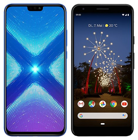 Smartphone Comparison: Honor 8x vs Google pixel 3a xl