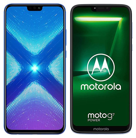 Smartphone Comparison: Honor 8x vs Motorola moto g7 power