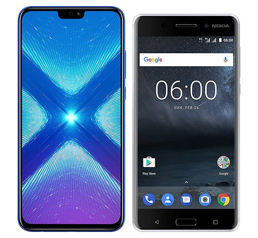 Smartphone Comparison: Honor 8x vs Nokia 6