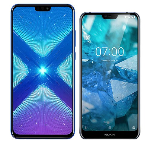 Smartphone Comparison: Honor 8x vs Nokia 7 1