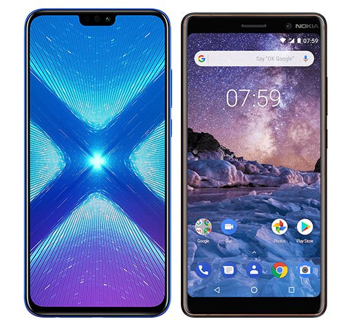 Smartphone Comparison: Honor 8x vs Nokia 7 plus