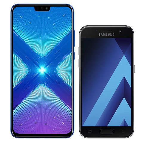 Smartphone Comparison: Honor 8x vs Samsung galaxy a3 2017