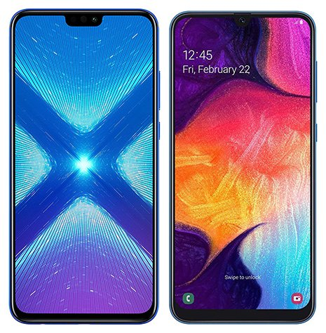 Smartphone Comparison: Honor 8x vs Samsung galaxy a50