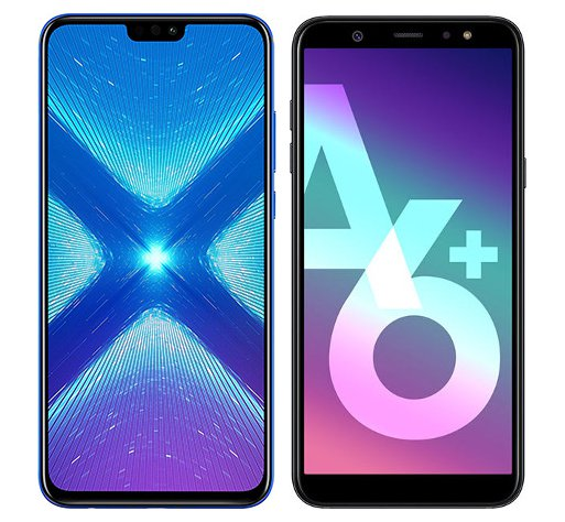 Smartphone Comparison: Honor 8x vs Samsung galaxy a6 plus