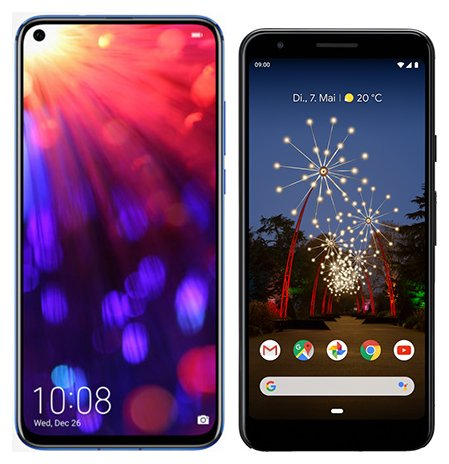 Smartphone Comparison: Honor view 20 vs Google pixel 3a