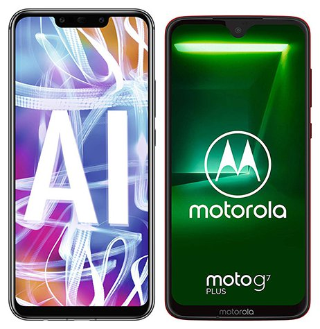 Mate 20 Lite vs Moto G7 Plus. Size comparison