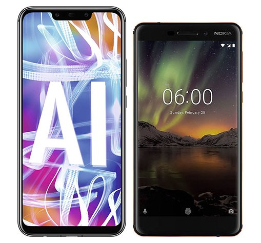 Smartphone Comparison: Huawei mate 20 lite vs Nokia 6 1