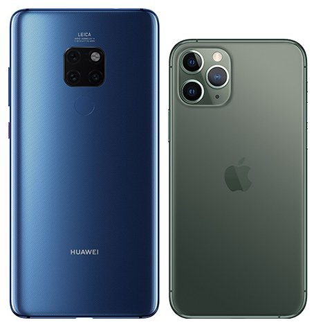 Mate 20 vs iPhone 11 Pro. View of main cameras