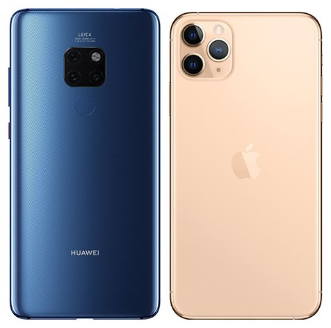 Mate 20 vs iPhone 11 Pro Max. View of main cameras