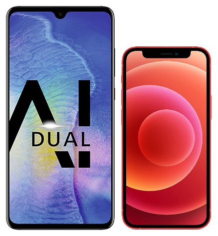 Smartphone Comparison: Huawei mate 20 vs Iphone 12 mini