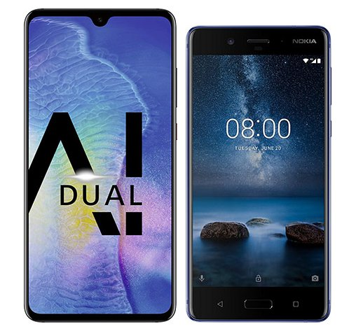 Smartphone Comparison: Huawei mate 20 vs Nokia 8
