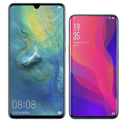 Smartphone Comparison: Huawei mate 20 x vs Oppo find x