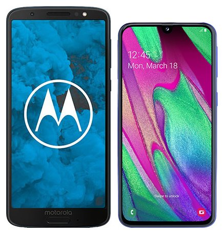 Moto G6 vs Galaxy A40. Size comparison
